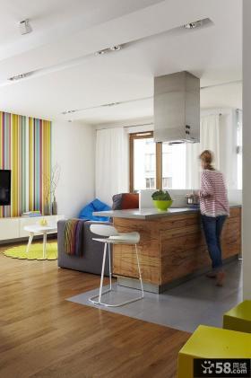 波兰90平米现代风格开放式厨房活力彩色空间设计