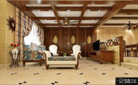 中式客厅瓷砖铺贴效果图