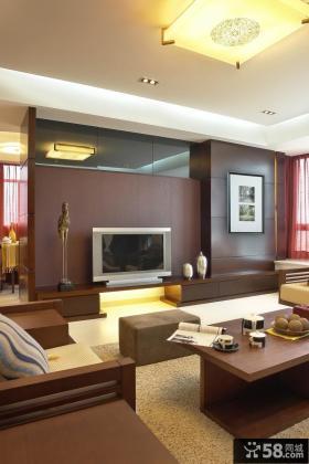 中式客厅电视背景墙设计效果图