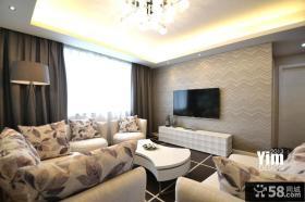 现代客厅壁纸电视背景墙效果图大全