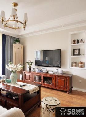 美式风格装修客厅电视背景墙装饰图片