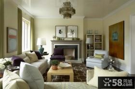 淡淡的绿色现代欧式风格装修效果图客厅图片