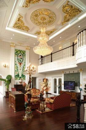 欧式别墅挑高客厅吊顶装修效果图