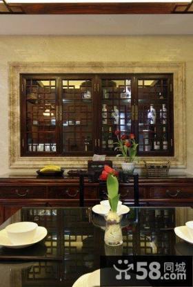 中式古典风格室内窗户效果图