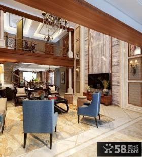 豪华别墅客厅电视背景墙设计效果图