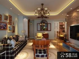 地中海风格室内客厅电视背景背景墙装修效果图