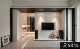 宜家客厅简易电视背景墙装修效果图