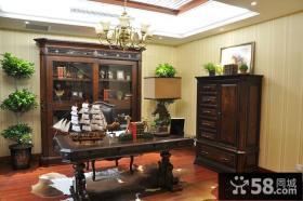 美式乡村风格古典书房装修设计