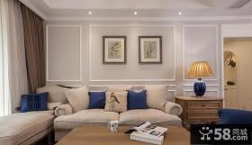 简约美式客厅沙发背景墙装饰画图片