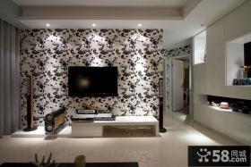 简约风格暗客厅壁纸背景墙装修效果图