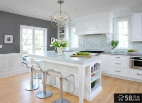 欧式现代开放式厨房吧台装修设计效果图