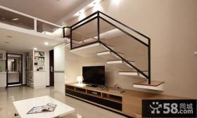 现代复式楼简易客厅电视背景墙装修效果图