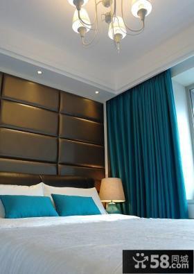 现代卧室床头软包背景墙效果图