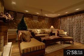 美式田园风格客厅装修效果图大全2014图片