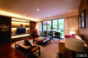 东南亚风格大客厅电视机背景墙效果图