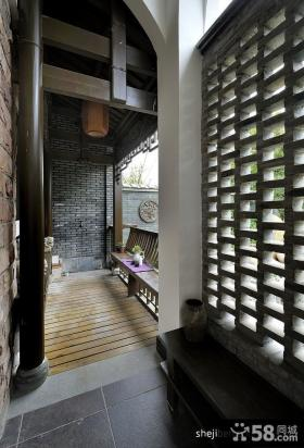 中式风格别墅室内阳台装修效果图欣赏