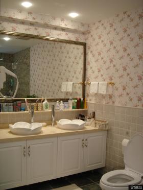 美式田园风格卫生间浴室柜效果图
