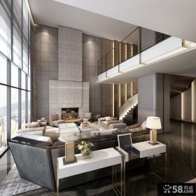 郑中设计作品_通盈中心复式公寓室内客厅设计