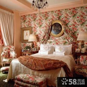 英式田园风格卧室墙纸效果图