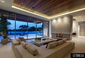 豪华别墅客厅木质吊顶装修设计