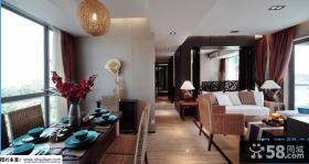 东南亚风格客厅餐厅一体效果图大全