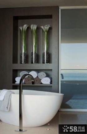 豪华别墅卫生间浴池图片