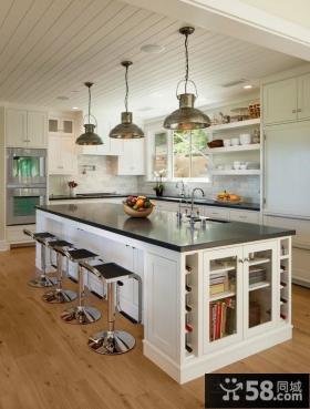 美式乡村风格厨房整体橱柜装修设计图片