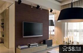 棕色现代电视背景墙装修效果图 黑色吊顶装修效果图
