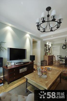 美式风格客厅电视柜背景墙装修效果图