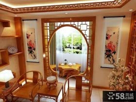 中式风格客厅阳台隔断门装修效果图