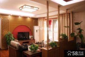 中式风格客厅电视背景墙装饰效果图