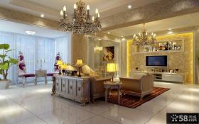 奢华欧式客厅电视背景墙设计效果图
