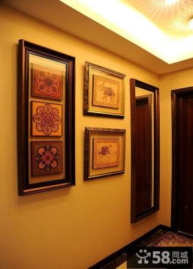 家庭玄关墙上装饰画效果图片欣赏