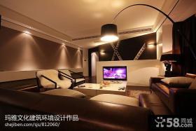 现代风格家装客厅不吊顶装修效果图