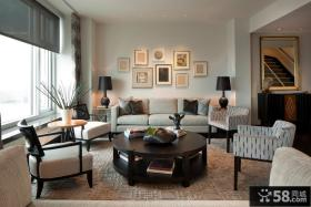 新中式客厅沙发背景墙效果图