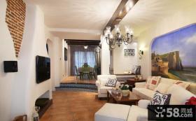 地中海风格客厅有梁吊顶装修效果图欣赏