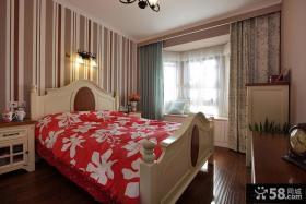 欧式风格主卧室飘窗窗帘效果图