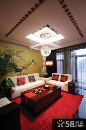 中式别墅客厅方形水晶灯吊顶效果图
