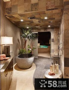 中式古典韵味别墅卫生间装修效果图