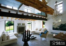 复式房子装修 有梁客厅装修效果图