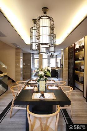 中式风格复式餐厅吊顶装修效果图