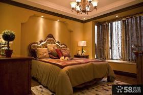美式卧室转角飘窗设计效果图