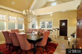 美式风格室内餐厅餐桌吊顶装修设计