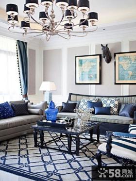 豪华别墅客厅沙发背景墙效果图欣赏大全2014图片