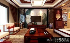 中式客厅电视背景墙效果图-12.24