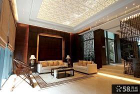 新中式风格别墅装修客厅吊顶效果图