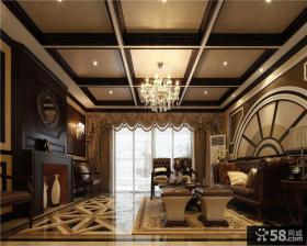 现代欧式客厅木龙骨吊顶图片