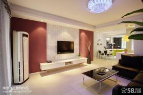 简约客厅文化砖电视背景墙装修效果图