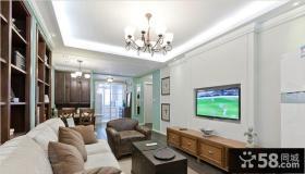 美式风格70平米小户型嵌入式电视背景墙效果图