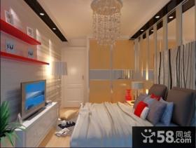 4万打造单身小户型卧室电视背景墙现代风格装修效果图公寓样板间